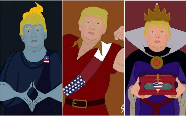 Trump reinventado por Saint Hoax como: Hades, Gastón y la reina Grimhilde.