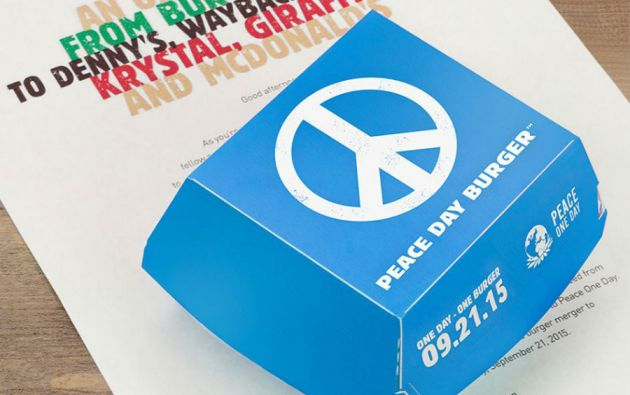 """La """"Peace Day Burger"""" se servirá durante el Día Mundial de la Paz, el 21 de septiembre."""