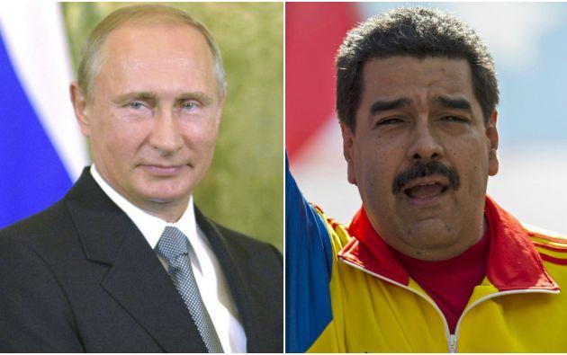 Vladímir Putin, y su homólogo venezolano, Nicolás Maduro. Fotos: REUTERS.