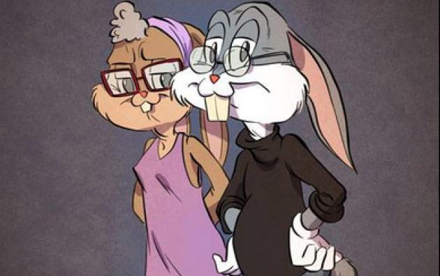 Bugs y Lola Bunny repensados por el ilustrador. Imagen: Facebook / Andrew Tarusov.