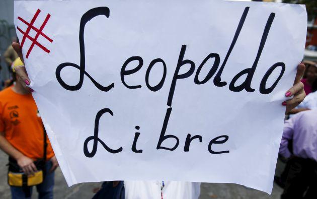 Manifestantes muestran su apoyo a López en Caracas. Fotos: REUTERS.