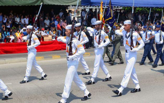 Unos 3000 efectivos de las tres ramas de las Fuerzas Armadas participan en el evento. Foto: Armada del Ecuador.