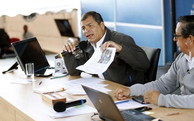 Correa durante el enlace ciudadano 446, realizado desde Tulcán. Foto: Flickr / Presidencia Ecuador.