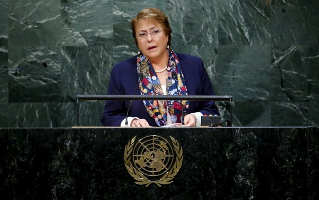 Michelle Bachelet en la sesión 70 de la Asamblea General de la ONU. Foto: REUTERS.