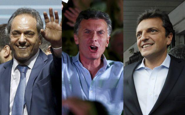 Daniel Scioli, Mauricio Macri y Sergio Massa. Foto: REUTERS