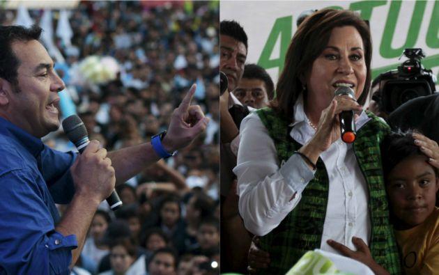 Cada uno a su estilo, los presidenciables guatemaltecos finalizaron casi dos meses de campaña luego de ganar el pasado 6 de septiembre el pase al balotaje. Fotos: REUTERS.