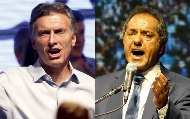 Mauricio Macri y Daniel Scioli. Foto: REUTERS
