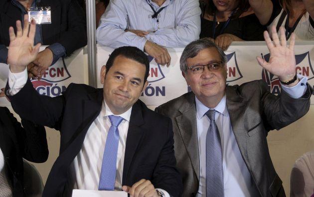 Jimmy Morales y Jafeth Cabrera, presidente y vicepresidente electos. Foto: REUTERS