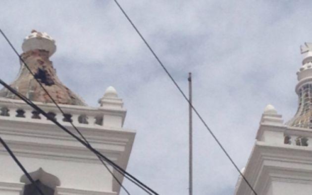 La cúpula de la iglesia de El Tejar fue afectada el lunes por un rayo, por lo que se realizarán trabajos de emergencia para protegerla. Fot: Municipio de Quito.