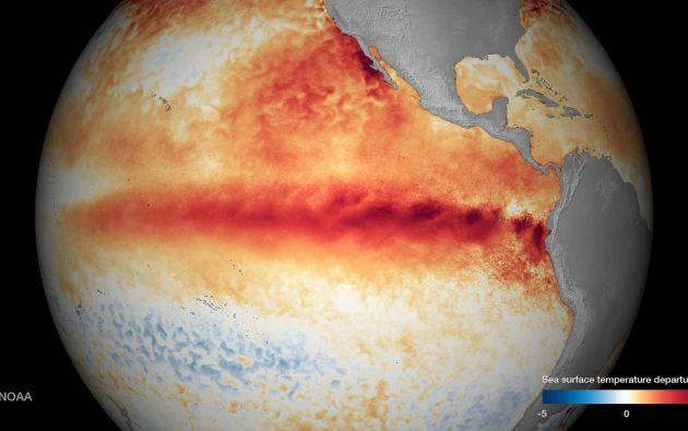 """La temperatura de la superficie del mar, causada por """"El Niño"""", vista por un satélite. Foto: REUTERS."""