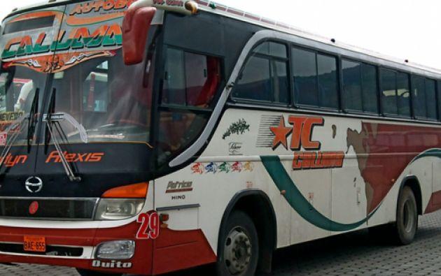 Foto referencial de un bus de la cooperativa de transporte Caluma. Foto tomada de terminalterrestrequevedo.gob.ec.