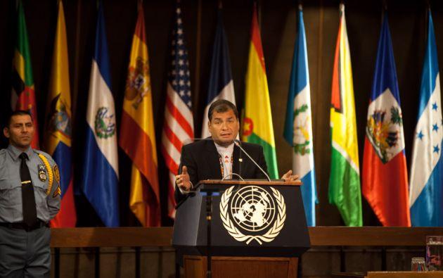 Correa en una conferencia magistral en Cepal en mayo de 2014. Foto: Wikicommons.