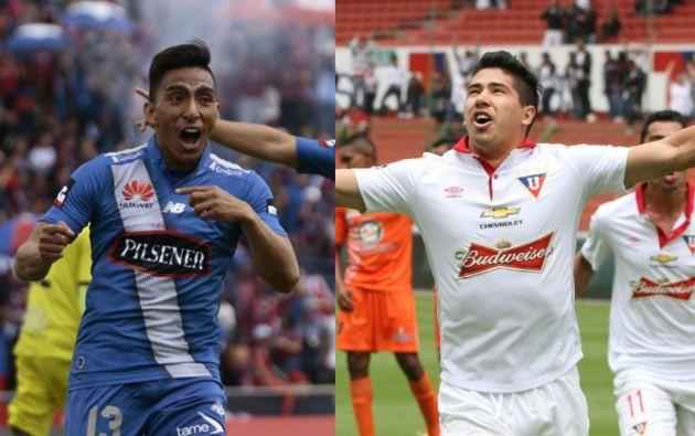 Ángel Mena y Diego Morales, altos valores de Emelec y Liga de Quito, respectivamente.
