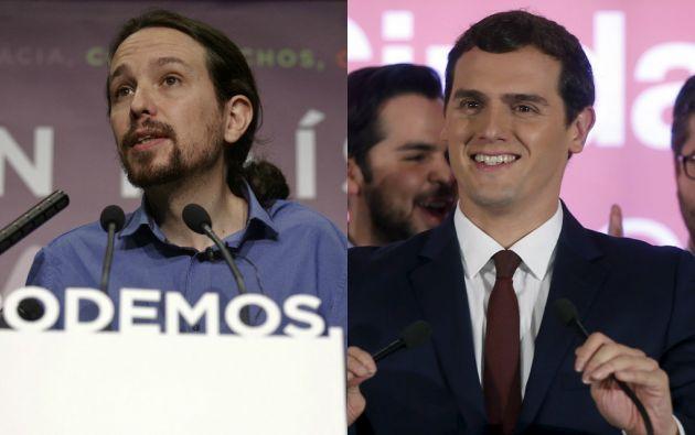 """Pablo  Iglesias y Albert Rivera, líderes de """"Podemo"""" y """"Ciudadanos"""", respectivamente. Fotos: Reuters"""