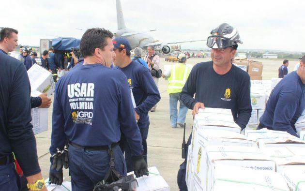 Arribo de ayuda humanitaria desde Colombia a la Base Aérea de Manta. Foto: Presidencia de Ecuador