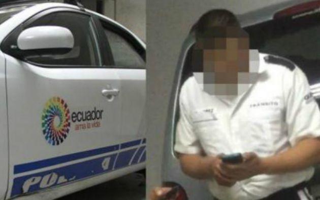 QUITO, Ecuador.- El agente William L. fue llevado a la Unidad de Flagrancia donde espera la audiencia respectiva. Foto: Collage.