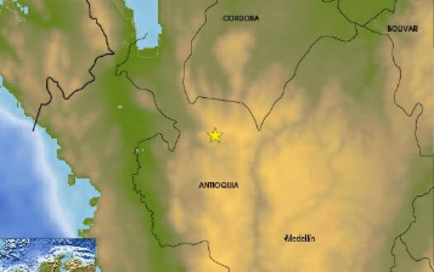 El temblor tuvo mayor magnitud en Antioquia, pero también se sintió en Caldas,Chocó, Bogotá, hasta Valle del Cauca. Foto: Red Sismologica N.