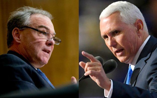 El senador demócrata por Virginia Tim Kaine, y el gobernador de Indiana, el republicano Mike Pence, medirán fuerzas. Foto: Ecuavisa.