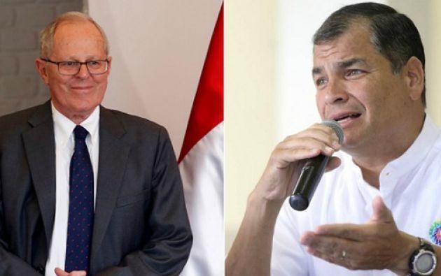 Tanto Kuczynski como Correa han manifestado su intención de fortalecer las buenas relaciones entre sus países. Foto: Ecuavisa.