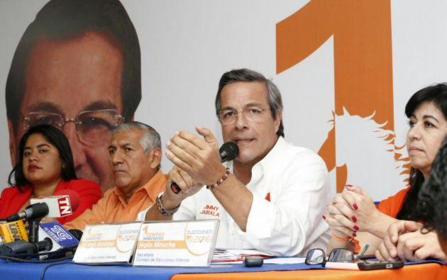 El líder del movimiento, Jimmy Jairala, anunció la inscripción para el 16 de noviembre. Foto: Twitter  / Centro Democrático.