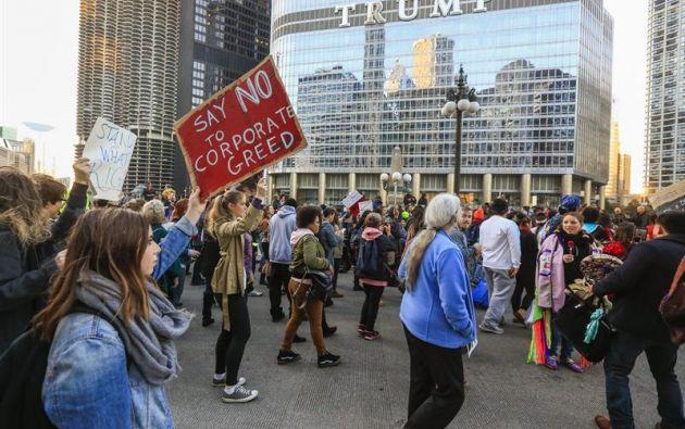 """EE.UU.- El grito de """"Not my president"""" (No mi presidente) retumbó por cuarto día consecutivo en una treintena de ciudades de Estados Unidos. Foto: EFE"""