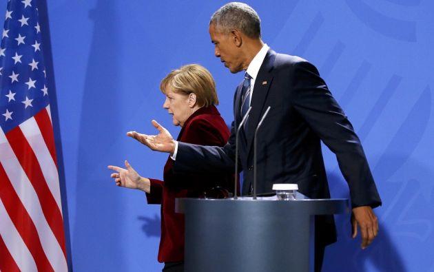Obama y Merkel enviaron el miércoles un mensaje opuesto al discurso antiglobalización defendido por Trump. Foto: REUTERS.
