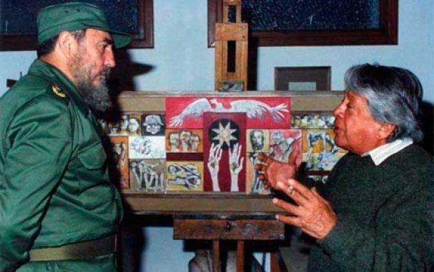 Fidel Castro junto a Oswaldo Guayasamín. Foto: Escambray.cu