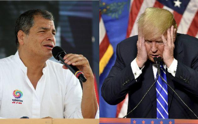 """QUITO, Ecuador.- Esas son """"Las palabras de un ignorante"""", aseguró Correa en su cuenta de Twitter sobre el comunicado de Donald Trump. Foto: Collage."""