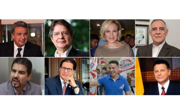 Fotografías de archivo de los candidatos a la Presidencia. La imagen de Cynthia Viteri corresponde a Edgar José Rosero Villacís.
