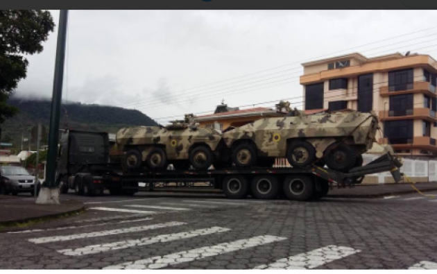 A través de las redes sociales se observan tanques de guerra en el cantón San Juan Don Bosco. Foto: Conaie