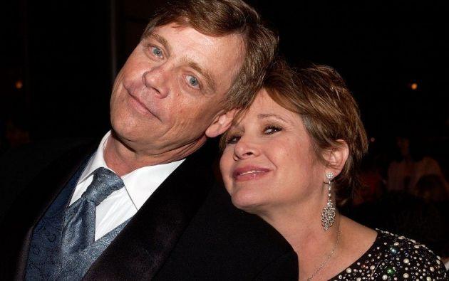 Hamill y Fisher durante un homenaje a George Lucas en 2005. Foto: AFP.
