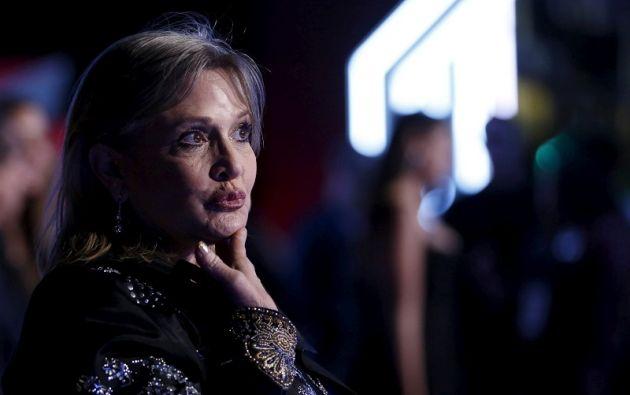 Una imagen de archivo de Fisher, durante el estreno de Star Wars: The Force Awakens. Foto: REUTERS.