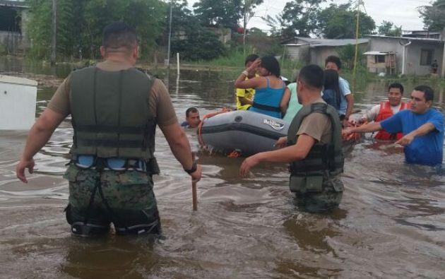 Secretaría de Riesgos indicó que en Orellana están desbordados 2 ríos: Napo y Payamino. Foto: Armada