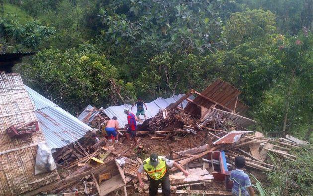 FLAVIO ALFARO, Manabí.- Deslizamientos de tierra afectaron viviendas en Flavio Alfaro. Foto: Secretaría de Riesgos