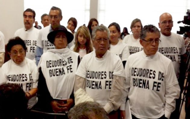 Los deudores de Buena Fe han llegado varias veces a la Asamblea para pedir más plazo y poder cumplir las acreencias. Foto: Tomada del TW de Asambleísta Salgado