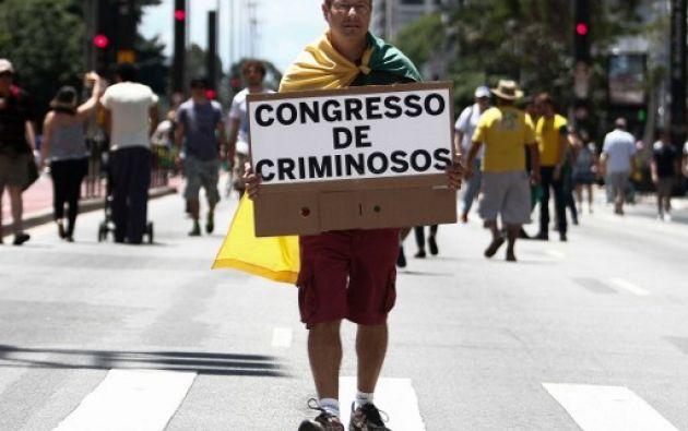En diciembre pasado, los brasileños protestaron contra el caso de corrupción Lava Jato, del que Odebrecht es parte. Foto: AFP