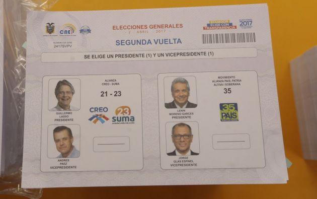 La papeleta de la segunda vuelta fue presentada a los medios esta mañana en las instalaciones del IGM. Foto: Cortesía