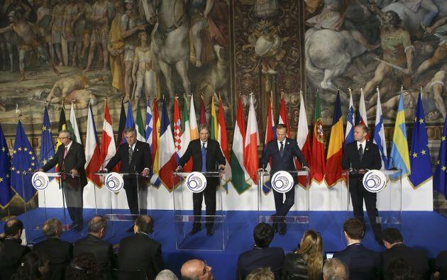 ROMA.- La gran ausente de la ceremonia fue la primera ministra británica, Theresa May. Foto: Reuters