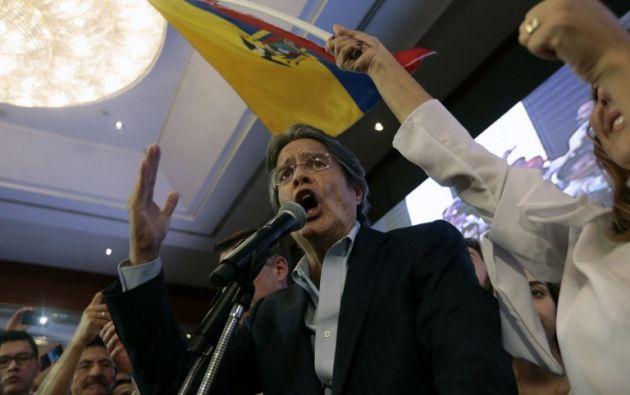 Lasso, este 2 de abril del 2017, en el hotel Hilton Colón de Guayaquil. Foto: AFP.