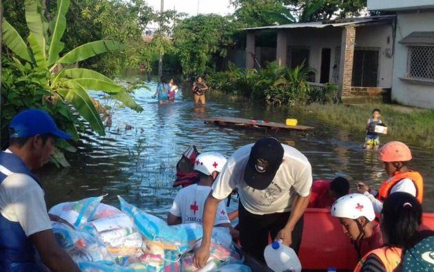 Milagro es uno de los cantones de Guayas más afectados por el fuerte invierno. Foto: TW de Riesgo.EC