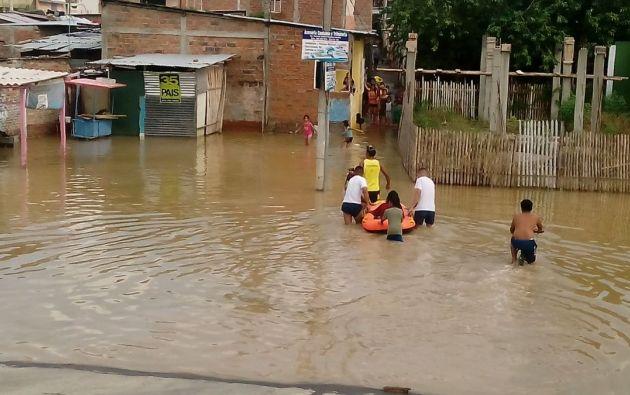 Áreas rurales de Manta también han sido afectados por el desborde de los ríos. Foto: Ministerio del Interior