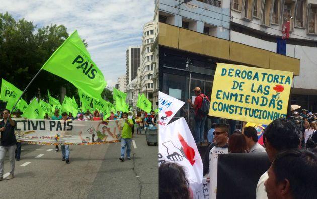 En Guayaquil y Quito se cumplen varias marchas por el Día del Trabajo organizadas por grupos a favor y en contra del régimen. Foto: Collage redes