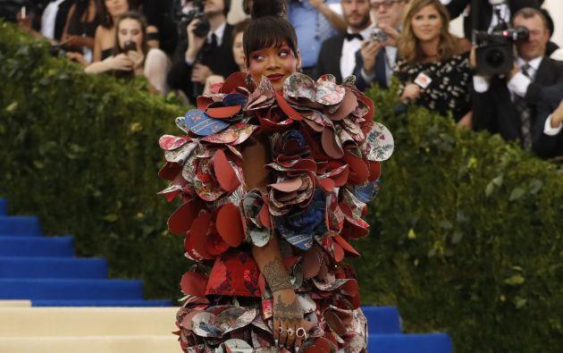 """""""La mejor vestida, en mi humilde opinión, ha sido Rihanna"""", comentó en un tuit, la cantante Lady Gaga. Foto: Reuters."""
