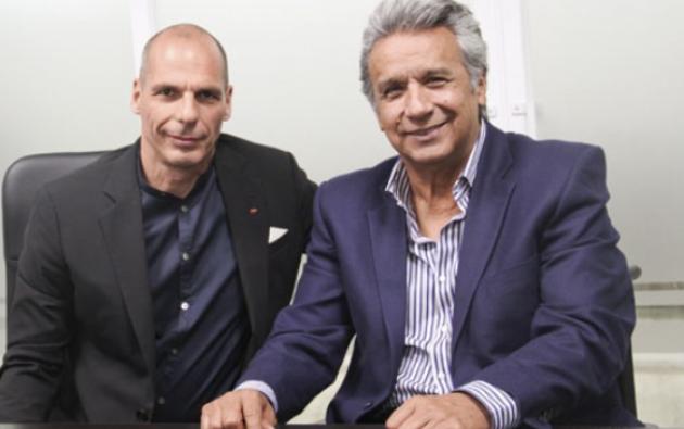 El exministro griego Yanis Varoufakis, defensor del dinero electrónico, se reunió en Quito con el presidente electo Lenín Moreno.