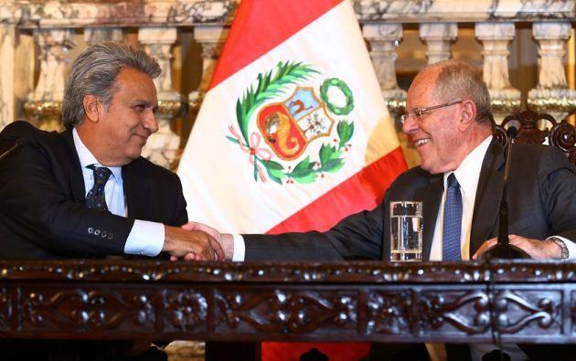 Lenín Moreno se reunió con Pedro Pablo Kuczynski. | Foto: Reuters.