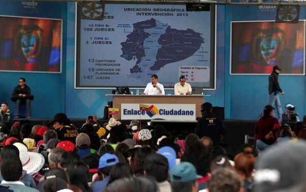 Los informe de labores han llevado a Correa a distintas partes del país, hasta donde por lo general llegan ciudadanos de otras provincias. Foto: Flickr Presidencia
