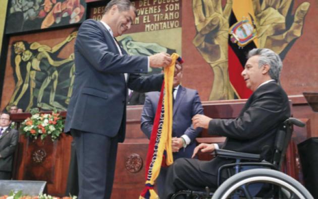 Lenín Moreno asumió la Presidencia con un discurso en clave de ritual de exorcismo. FOTO: Vistazo
