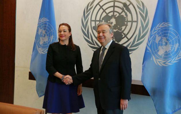 La canciller ecuatoriana María Fernanda Espinosa se reunió este 7 de junio con el secretario general de Naciones Unidas, António Guterres, en Nueva York. | Foto: Cancillería Ecuador.