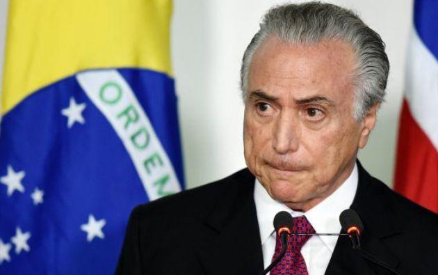 Michel Temer podría convertirse esta semana en el primer presidente brasileño en ser inculpado formalmente por corrupción. Foto: AFP