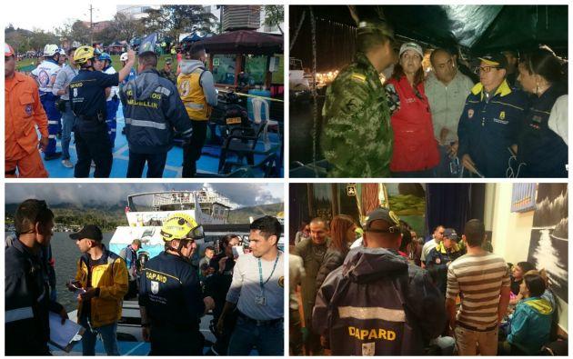 Un primer grupo de buzos y autoridades inició la tarea de búsqueda ayer domingo tras el naufragio del bote en Colombia. Foto: Tomado de Unida de Riegos de Colombia